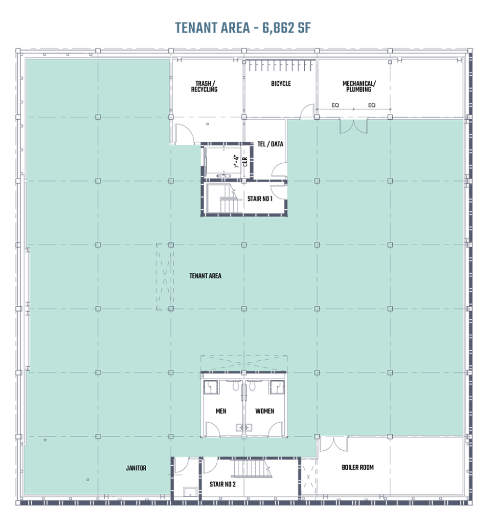 An architectural blueprint of the basement floor of 808 on Alder in Portland, Oregon.