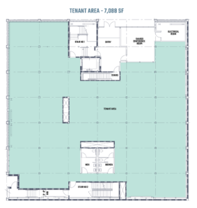 An architectural blueprint of the ground floor of 808 on Alder in Portland, Oregon.