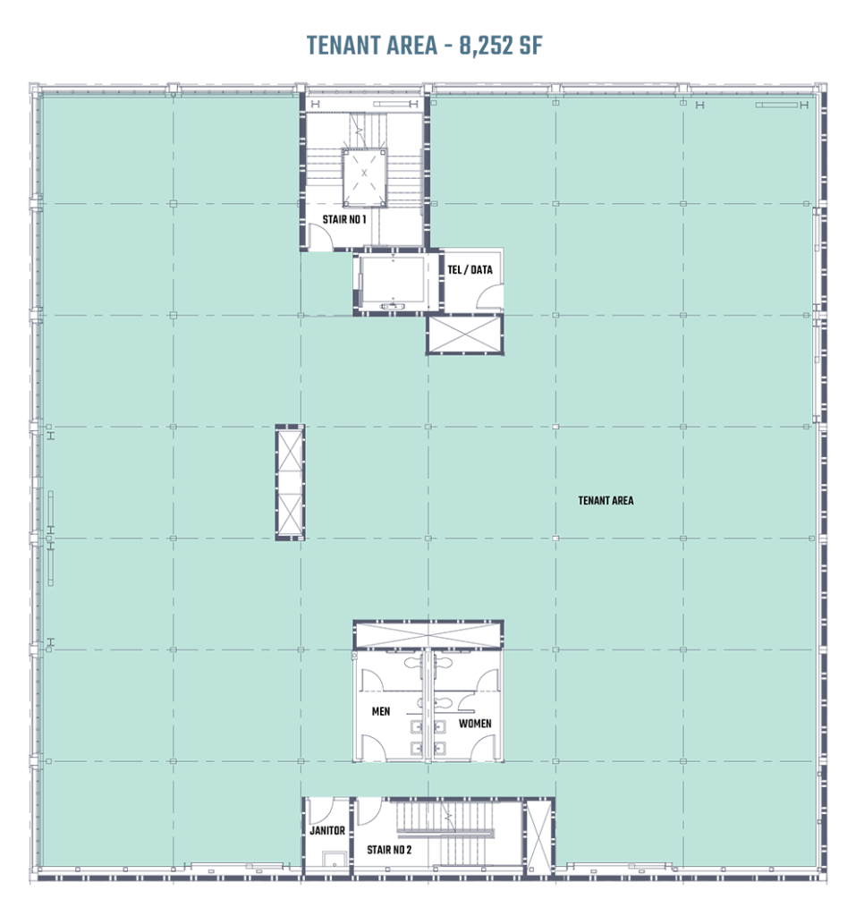 An architectural blueprint of the second floor of 808 on Alder in Portland, Oregon.