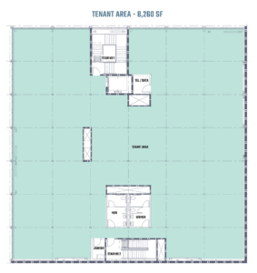 An architectural blueprint of the third floor of 808 on Alder in Portland, Oregon.