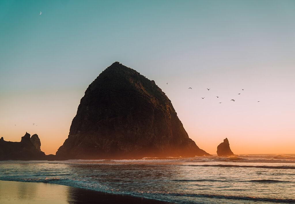 A photograph of Haystack Rock in Oregon.