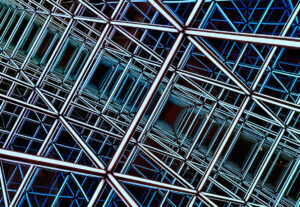 An illustration of a grid of interconnected metal beams that form outlines of cubes.